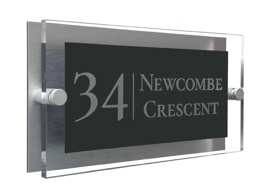 Rectangle Shape - Clear Acrylic House Sign - Anthracite Colour with Silver text in Font  2